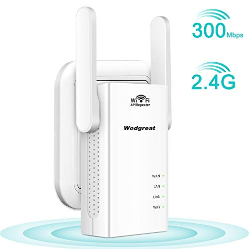Wodgreat WLAN Repeater WLAN Verstärker 300 Mbit/s 2,4GHz Wireless Signalverstärker WLAN Range Extender WiFi Router mit LAN Port Router/Repeater/Access Point Modus kompatibel zu Allen WLAN Geräten