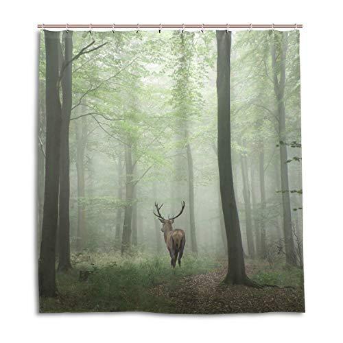 CPYang Duschvorhänge Tier Hirsch Nebel Wald Wasserdicht Schimmelresistent Bad Vorhang Badezimmer Home Decor 168 x 182 cm mit 12 Haken