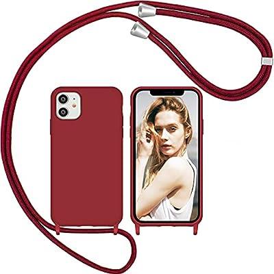 Nupcknn Funda Silicona con Cuerda para iPhone 11, Carcasa Suave Silicona Case con Correa Colgante Ajustable Collar Correa de Cuello Cadena Cordón(Rojo)