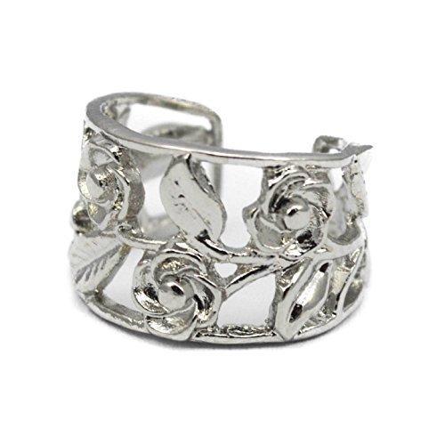 Elixir77UK Plain Silver Colour Rose Flower Ear Cuff Clip On Wrap Cartilage Helix Non Pierced Punk Earring UK Seller