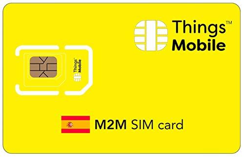Tarjeta SIM M2M ESPAÑA - Things Mobile - con cobertura global y red multioperador GSM/2G/3G/4G LTE, sin costes fijos, sin vencimiento y con tarifas competitivas, con 10 € de crédito incluido