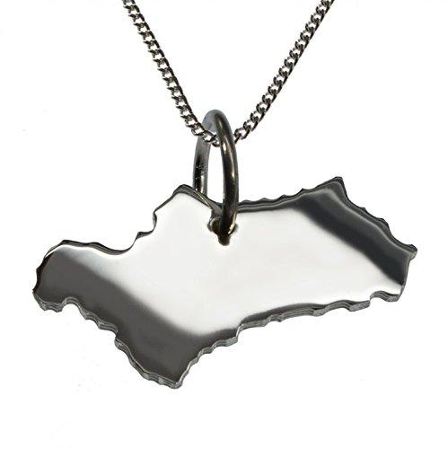 50cm Halskette + Andalusien Anhänger in massiv 925 Silber