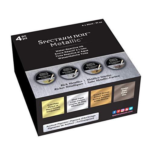 Spectrum Noir Encre liquide 30 Ml-rich Metallics 4pc, différents, bocal
