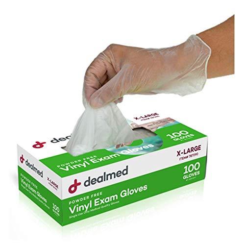 Dealmed Vinyl Exam Gloves, Powder Free, Latex Free, Clear (Box of X-Large)