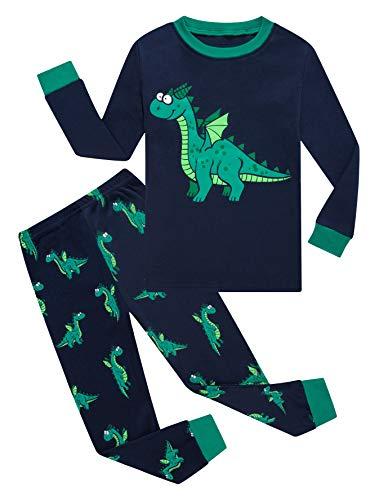 Dragon Little Boys Long Sleeve Pajamas Sets 100% Cotton Pyjamas Toddler Kids Pjs Size 2T Blue