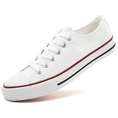 AOMAIS Womens Canvas Shoes Sneaker Low Top Lace up Fashion Walking Shoes (US8, white1)