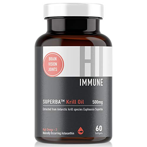 HI IMMUNE Krill Oil 500mg with Astaxanthin 60 Softgels - Superba Antarctic Krill 100% Sustainable - Extracted from Antarctic Krill Species Euphausia Superba - High Omega 3 Fatty Acids EPA & DHA