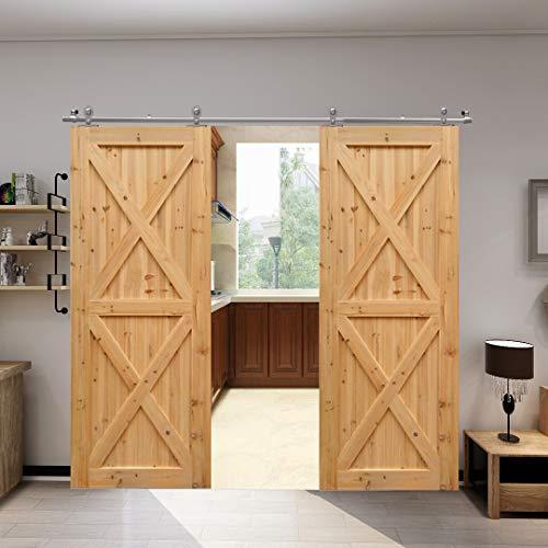 Beslagset voor schuifdeur, roestvrij staal, schuifdeursysteem, schuifdeur, beslag, schuifdeurbeslag, looprail, houten deur dubbele deur, binnendeuren 10FT/3M (Doppeltür)