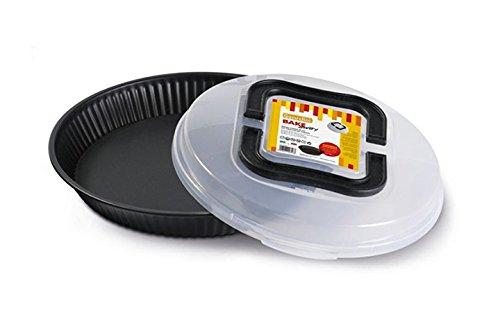 Guardini Bake Away, Moule à tarte de 28 cm avec couvercle de transport, en acier avec revêtement anti-adhérent, couleur noire