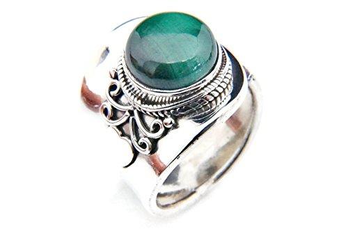 Malachit Ring 925 Silber Sterlingsilber Damenring grün verstellbar (MRI 61-10)