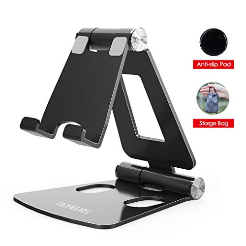 Adjustable Cell Phone Stand, licheers Multi-Angle Cell Phone Holder, Cradle, Dock, Stand Compatible with Nintendo Switch, Phone 11 Pro Xs Max Xr X 8 7 6 6s Plus and 4-7 Inch Devices (Black)