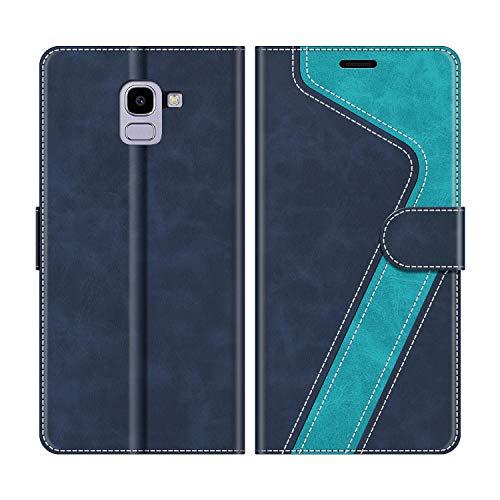 MOBESV Funda para Samsung Galaxy J6 2018, Funda Libro Samsung J6 2018, Funda Móvil Samsung Galaxy J6 2018 Magnético Carcasa para Samsung Galaxy J6 2018 Funda con Tapa, Elegante Azul