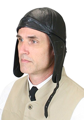 Historical Emporium Men's Genuine Leather Aviator Helmet L Black