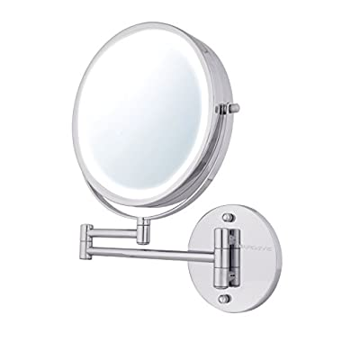 Ovente Wall Mount Makeup Mirror, Battery Operated LED Lighted, 1x/10x Magnification, 8.5 inch, Polished Chrome (MFW85CH1x10x)