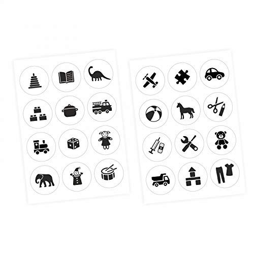 nikima Schönes für Kinder Möbelaufkleber Ordnungssticker für Spielzeug SCHWARZ/Weiss - Möbelfolie Kinderzimmer, Ordnung Lernen, Aufbewahrung, Ordnungssystem