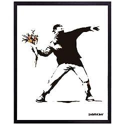 バンクシー アートフレーム (モロトフ) Banksy ポスター 火炎瓶 花束 ストリートアート グラフィティー パネル ペインティング 絵 複製画 代表作 有名作品 グッズ 店舗用ポスター 西海岸風 インテリア アメリカン雑貨