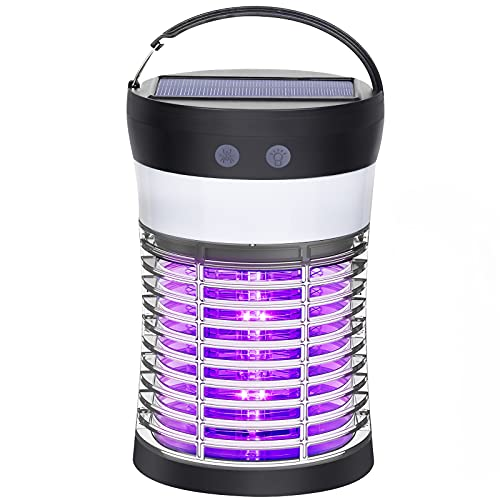 Bug Zapper, Electric Solar Mosquito Killer for Indoor & Outdoor, 3000V High Powered Pest Control Waterproof Mosquito Zapper,Rechargeable Insect Fly Trap for Home,Kitchen,Patio, Backyard,Camping