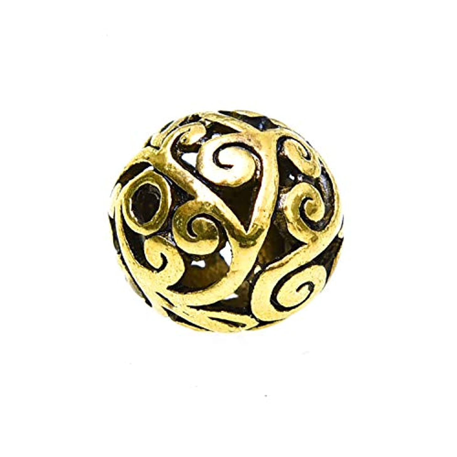 Monrocco 15 Pieces Loose Beads Round Hollow Spacer Beads Antique Alloy Tibetan Style Beads for Jewelry Making Handmade Bracelets Accessories Crafts Decoration