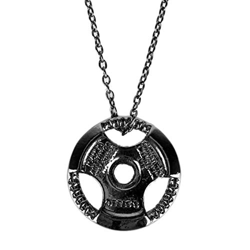 LWYNZ Men's Necklace Fashion Jewelry Weight Plate Barbell Pendant Weightlifting Bodybuilding Fitness Crossfit Gym Exercise Necklace