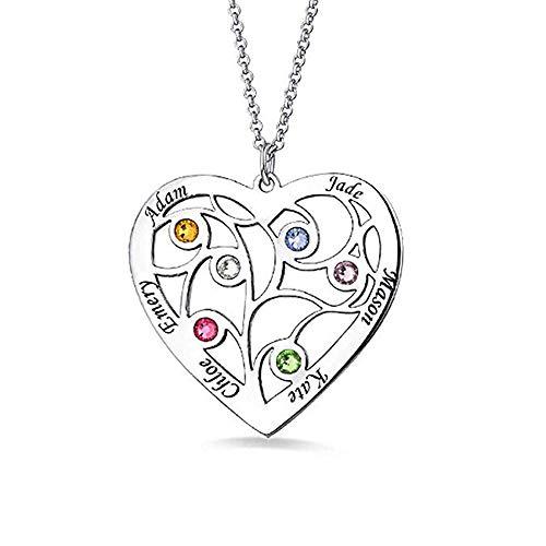 Panicy 925 Sterling Silber Herz Familienstammbaum Namenskette mit 6 Namen & 6 Geburtssteinen für Muttertagsgeschenk eingraviert