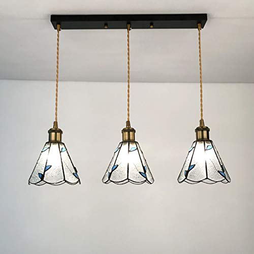 Tiffany Style Chandeliers Lámpara colgante vintage para comedor con pantalla de 6 pulgadas, apliques de vidrio para lámpara de techo para restaurante, dormitorio, pasillo, E27 x3,D