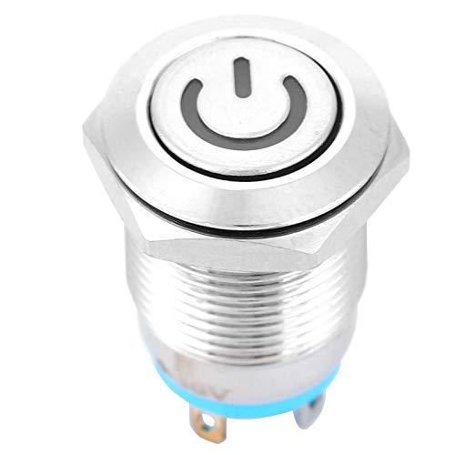 Interruptor de botón pulsador de reinicio automático de 12 mm IP66 IK09 Nivel de protección con luz de icono de encendido Contacto plateado para proyectos de electrónica de(5V)