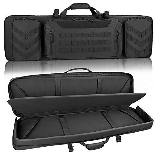Sunfiner 【Upgraded】 Urban Series Double Soft Rifle Case, Durable Tactical Long Rifle Bag & Multi-Function Gun Bag, Perfect for Hunting, Shooting and Other Outdoor Activities, (Black, 43 Inch)