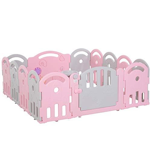 HOMCOM Kinderlaufgitter Schutzgitter Umkipp-Design HDPE-Material Faltbar für Baby 6-36 Monate 14 Stück 202 x 122 x 61,5 cm Rosa