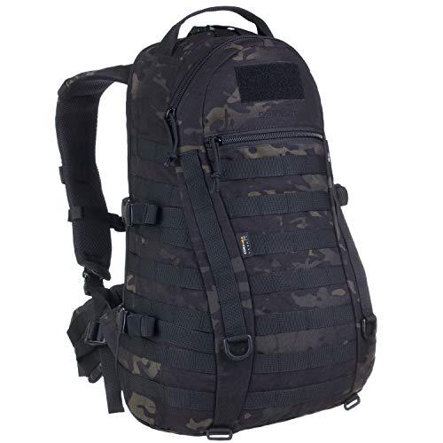 Wisport Wanderrucksack klein + inkl. E-Book | Rucksack Wandern | Tourenrucksack | Outdoor Survival Backpack für Jungen Mädchen | Zelten | Camo | Multicam Black | Caracal 25 L