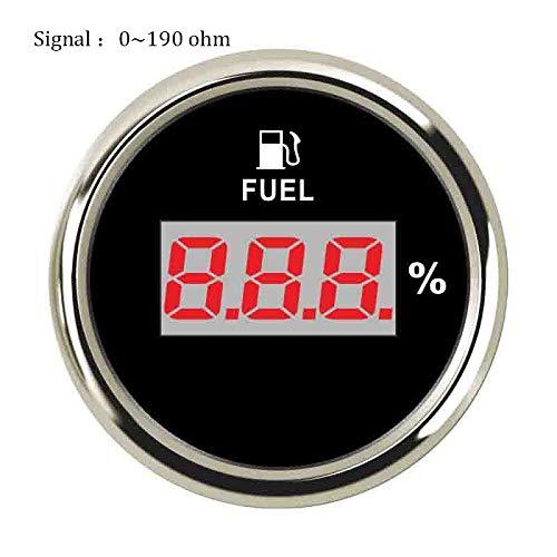 U/D HKRSTSXJ 52mm Digital Fuel Füllstandmessgerät 240~33 Ohm Öltankstandsanzeige 0~190ohm Fuel Gauge 9~32V for Auto-Boot (Color : Black Silver 190 ohm, Size : Kostenlos)