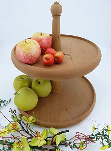 Etagere aus Holz, individuell, handgefertigt, Servierständer, Obstschale, Korb, dekorativ, 2 stöckig