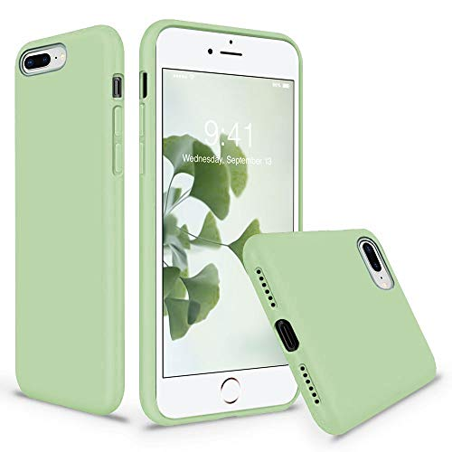 Vooii iPhone 8 Plus Case, iPhone 7 Plus Case, Soft Silicone Gel Rubber Bumper Case Microfiber Lining Hard Shell Shockproof Full-Body Protective Case Cover for iPhone 7 Plus  8 Plus - Matcha