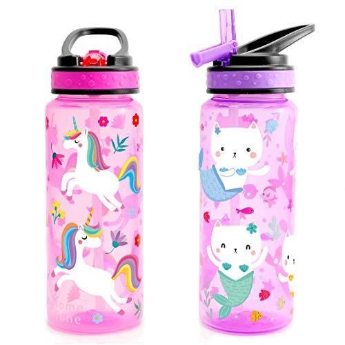 Home Tune Borraccia per bambini (680 ml) – Senza BPA, tappo con coperchio a cannuccia, leggero, manico per il trasporto, a prova di perdite, con design carino, per ragazze e ragazzi, confezione da 2