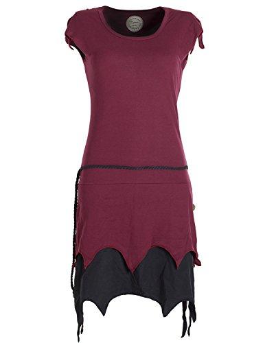 Vishes - Alternative Bekleidung - Lagenlook Zipfelkleid aus Bio-Baumwolle ohne Ärmel dunkelrot 38-40