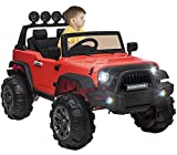 OTTARO Kids Electric Car Ride on Cars Trucks, Battery Powered Car for Kids,12V Motorized Vehicles w/ Parental Remote Control, LED Lights, MP3 Player,Safety Belt,Spring Suspension(Red)