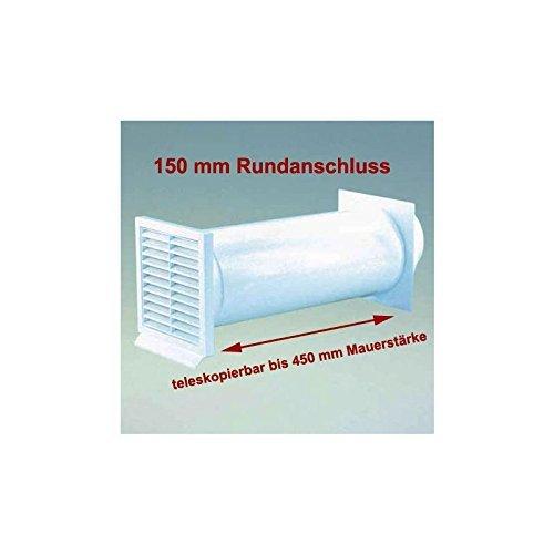 IKM Abluft Mauerkasten mit Rückstauklappe in Weiß mit Rundanschluss 150 mm Durchmesser Maße Aussengitter 225 x 225 mm für Mauerstärke von 120 - 450 mm Ablufttechnik Rundrohr für Rohre und Schläuche