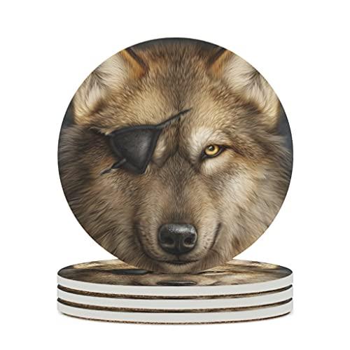 Facbalaign Posavasos de cerámica con diseño de perro pirata, con base de corcho resistente a los arañazos, protección del medio ambiente, antideslizante, 4 unidades, color blanco