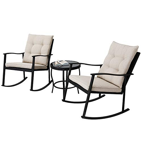 Incbruce Outdoor Rocking Chair Bistro Set 3-Piece Patio Furniture Sets All-Weather Steel Frame, Two Chairs & Round Glass Coffee Table for Patio Front Porch Garden Deck