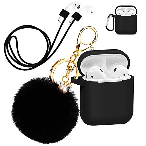 Silicone Case Cover with Cute Pompom Ball Keychain Compatible for Apple AirPods Charging Case