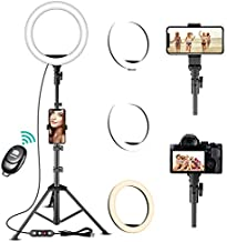 Ring Light with Stand and Phone Holder - TODI Dimmable Selfie Ring Light Led Ring Light with Tripod Stand for TikTok/YouTube/Live Stream/Makeup, Photography Lighting Compatible with iPhone Android