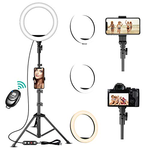 Ring Light with Stand and Phone Holder - TODI Dimmable Selfie Ring...
