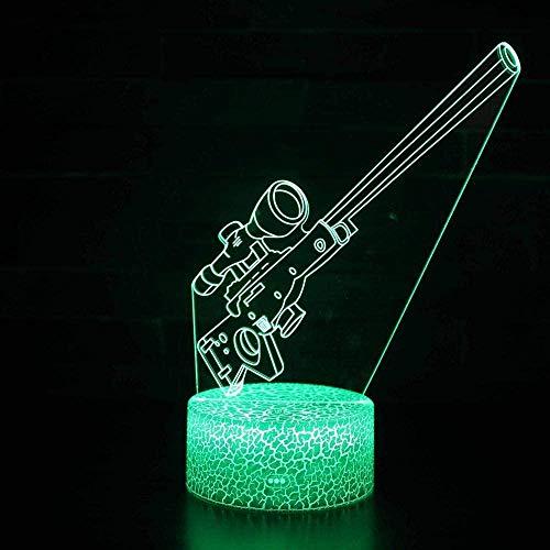 Luz de noche ilusión 3D luz de estado de ánimo para niños control remoto de 7 colores y luz de regalo de vacaciones con botón táctil - Arma militar
