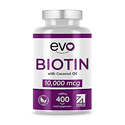 Biotin Hair Growth Supplement 10,000mcg | 400 Vegan Tablets - 13-Months Supply | With Coconut Oil | Vitamin B7 | For Maintenance of Normal Hair & Skin | Made in UK by Evo Nutrition