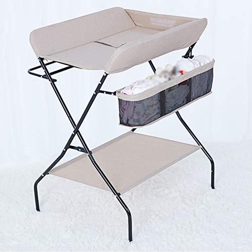 Table à langer for bébé Pliante avec Rangement Économiser de l'espace Organisateur de pépinières for Soins, 79x67x104 cm (Color : Beige)