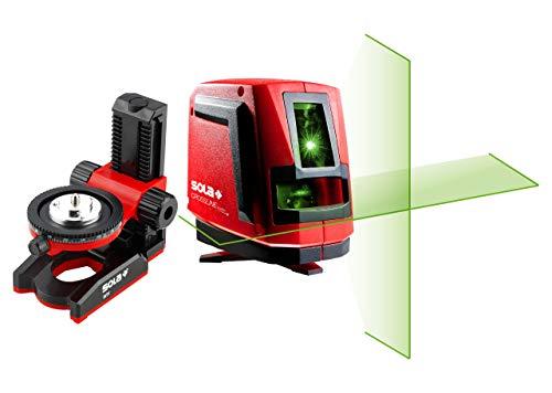 SOLA CROSSLINE GREEN - Set Kreuzlinienlaser mit Wandhalterung - Linienlaser grün mit Sola REAL GREEN Technologie - Wandhalterung magnetisch mit 360° Winkel-Feineinstellung - Laser mit Drehfuß