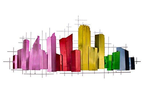 KunstLoft Extravagante Metall Wandskulptur 'Domestic Charm' 60x130x6cm | Design Wanddeko XXL handgefertigt Metallbild Wandrelief | Bunt Silber Rechtecke Skyline Abstrakt | Wandbild modern