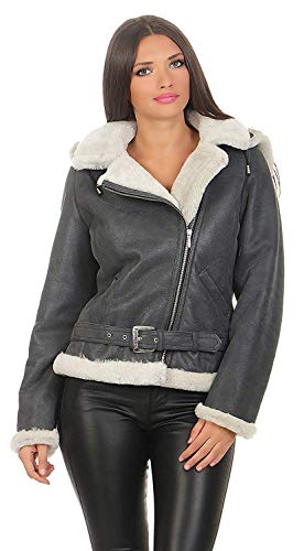 Hollert German Leather Fashion Lammfelljacke - Jessy Größe M, Farbe Grau