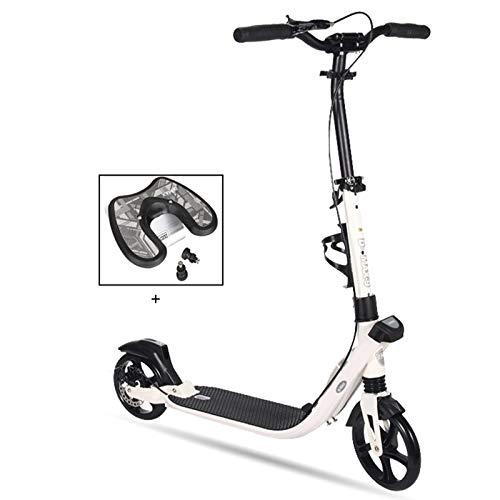 Patinetes Scooter Regalos para niños de 10 años en adelante. Niñas niños, Scooters Plegables con Freno de Mano y Ruedas Grandes, Soporte de 100 kg, no eléctrico. (Color : Blanco)