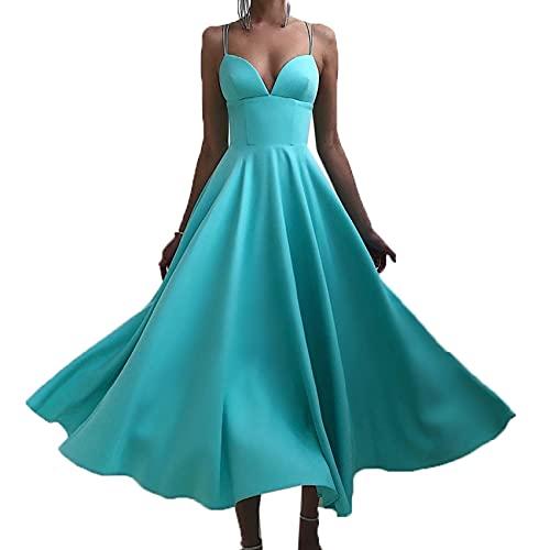 KeYIlowys Robe à Bretelles à Col en V pour Femme, Robe De TempéRament Mi-Longue De Couleur Unie, Grande Jupe Taille Haute, Jupe Multicolore
