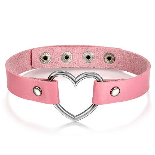 JewelryWe Schmuck Damen Choker Halsband Halskette, Leder Legierung 33-40cm Erstellbare Punk Lolita Herz Collier Kette, Rosa Silber